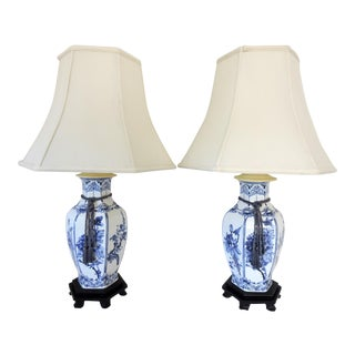 Blue & White Chinoiserie Table Lamps - A Pair