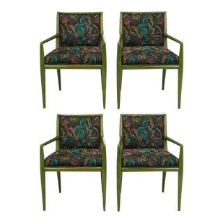 Four T.H. Robsjohn-Gibbings Moss Green Walnut Arm Chairs