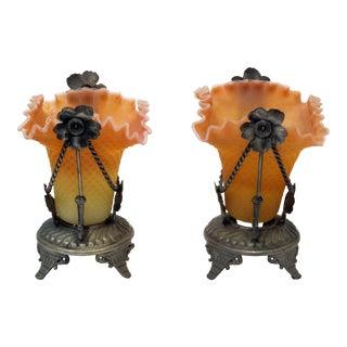 Burmese Glass Mantel Lamps- A Pair