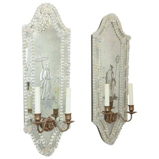 Opposing Pair of Etched Venetian Mirrored Sconces. Circa 1940s.