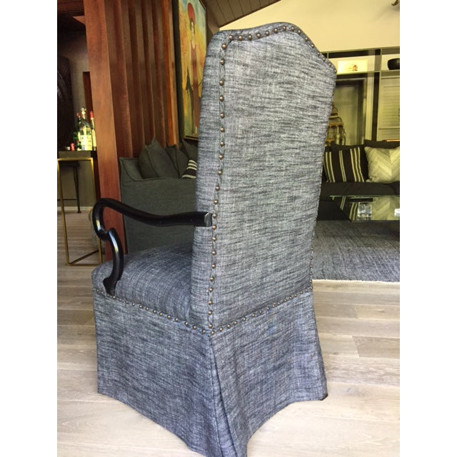 Gray Upholstered Dining Chairs - A Pair - Image 4 of 5