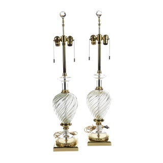Marbro Mid-Century Twisted Glass Lamps - A Pair