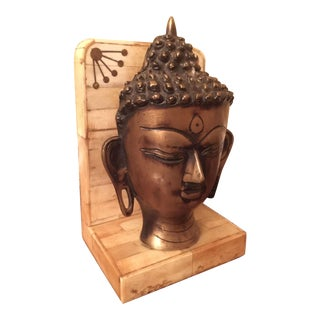 Buddhist Bone and Brass Doorstop Bookend