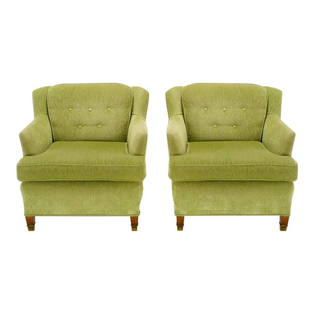 Pair of Pistachio Green Chenille Button-Tufted Low Barrel Back Wing Chairs - Image 1 of 9