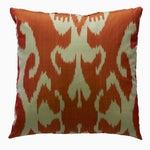 Image of Orange Silk Ikat Pillow From Uzbekistan
