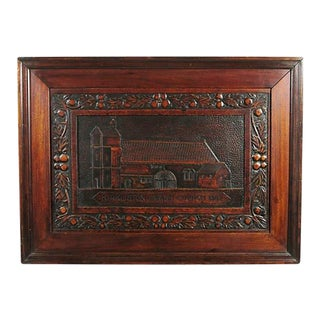 20th Century Scottish Arts & Crafts Walnut Scottish Relief Carving
