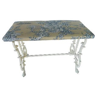 Victorian Cast Iron Bench With French Toile