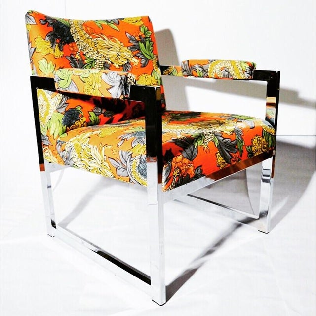 Milo Baughman Style Chrome Chair in Ming Dragon Fabric - Image 4 of 5