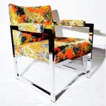 Image of Milo Baughman Style Chrome Chair in Ming Dragon Fabric