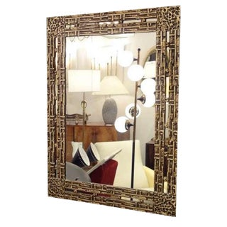 Modernist Wall Mirror in Cast Bronze by Luciano Frigerio, Italy circa 1965