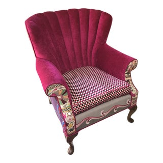 Hot Pink Silk Chenille Velvet Wingback Chair