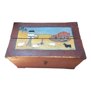 Folk Art Hand Painted Anitque Blanket Chest