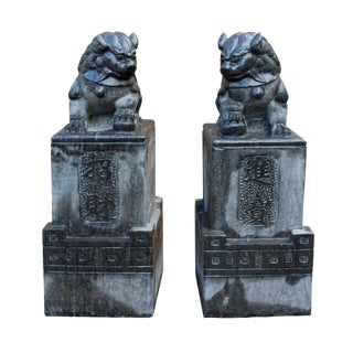 Chinese Gray Stone Fengshui Pedestal Foo Dog Statues - A Pair