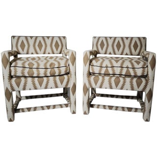 Milo Baughman Style Open Arm Parsons Chairs - A Pair