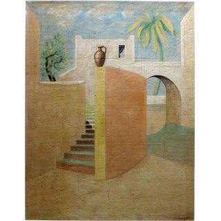 Contemporary Jacques Lamy De Chirico Style Mediterranean Landscape Painting