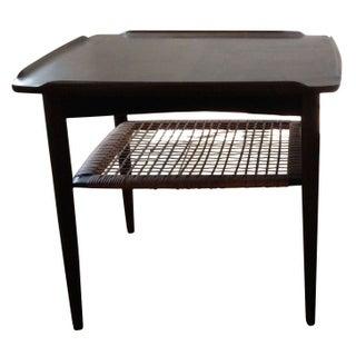 Danish Modern Teak Caned Side Table