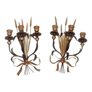 Hollywood Regency Italian Gilt Wood & Metal Candle Sconces