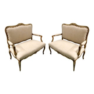Pair Of Gilded French Settees