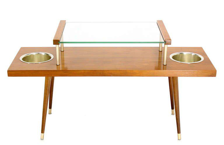 Mid Century Modern Walnut And Glass Top Console Table With Planters   Image  5