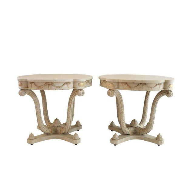 Italian Plume Cream Wood End Tables - A Pair - Image 1 of 4