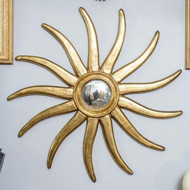 French Giltwood Sunburst Convex Mirror - Image 3 of 10