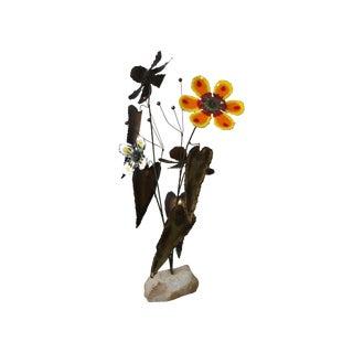 Mid Century C. Jere Metal and Enamel Flower Statue