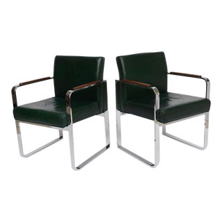 Pair 1940s Green Leather Chrome Streamline Modern Armchairs