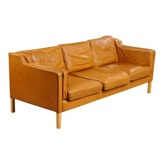 Danish Leather Three-Seat Sofa
