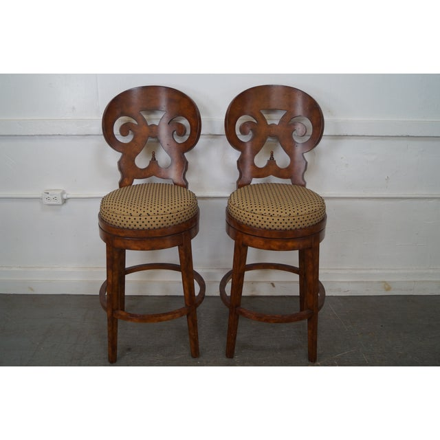 Biedermeier Style Swivel Bar Stools - A Pair - Image 2 of 10