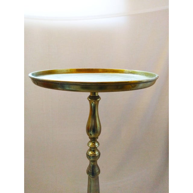 Image of Antique Brass Pedestal Accent Table