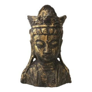 Gold Leafed Metal Buddha Head
