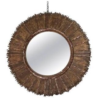 Sunburst Wood Mirror, Mid-Century, Spanish