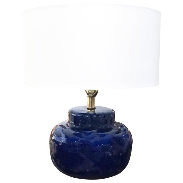 Mid Century Cobalt Blue Ceramic Lamp - Image 1 of 8