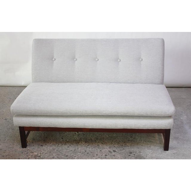 Danish Modern Settee in Chenille and Rosewood - Image 3 of 10