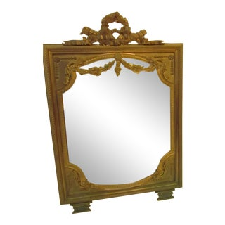 French Dore Bronze Mirror With Stand