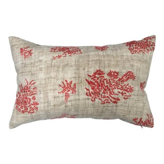 Antique Chinese Hand Blocked Linen Pillow