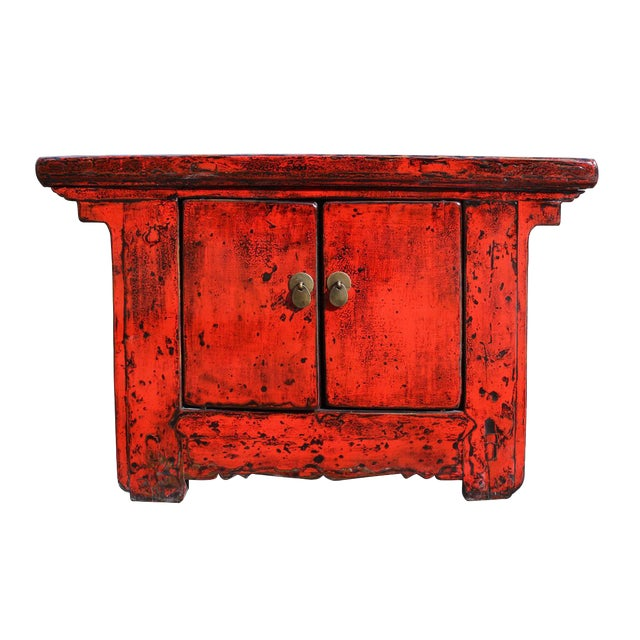Distressed chinese red console table chairish for Table th width ignored