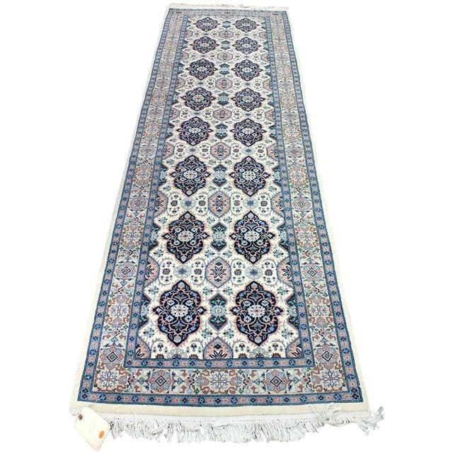 """Blue & Ivory Tabriz Runner Rug - 9'10"""" x 2'9"""" - Image 1 of 4"""