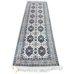 """Image of Blue & Ivory Tabriz Runner Rug - 9'10"""" x 2'9"""""""