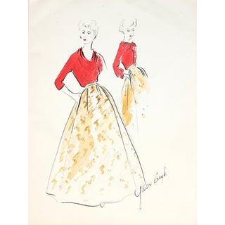 1950s Skirt & Blouse Illustration by G. Bayh