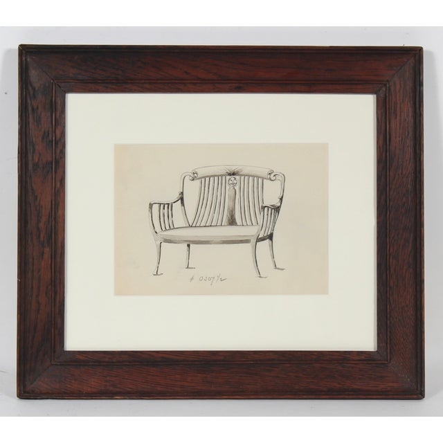 Early 20th Century Chair-Back Settee Drawing - Image 2 of 3