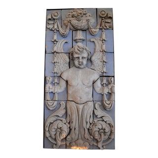 Polychrome Terra Cotta Angel Panel