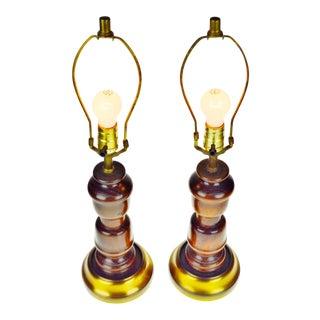 Vintage Mid Century Turned Wood Table Lamps - A Pair