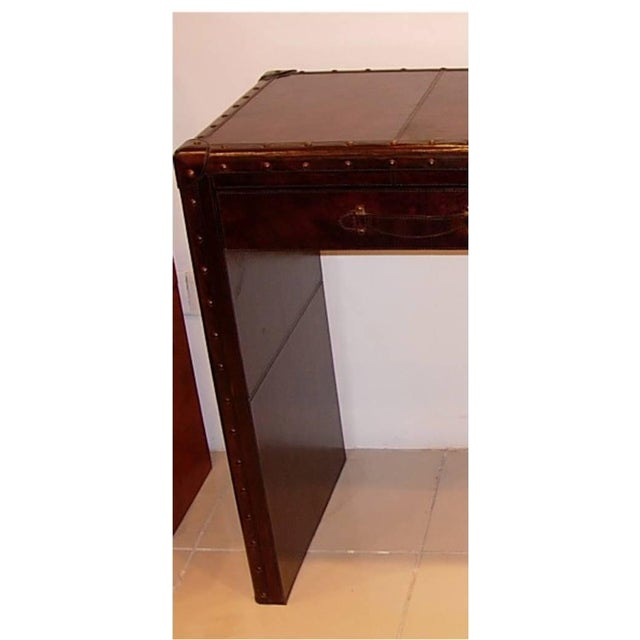 Leather Console Table With Two Drawers - Image 4 of 5