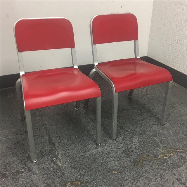 1951 Design Within Reach Emeco Red Chairs - A Pair - Image 3 of 8