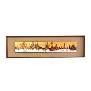 Walnut Framed Enamel Tiles Ship Bay Motif Plaque