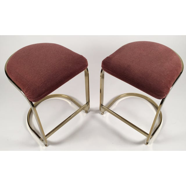 Milo Baughman Style Cantilever Bar Stools - A Pair - Image 5 of 7