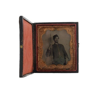 Civil War Soldier with Musket Tin Type Photograph