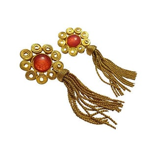 Etruscan-Style Scroll Work Tassel Earrings