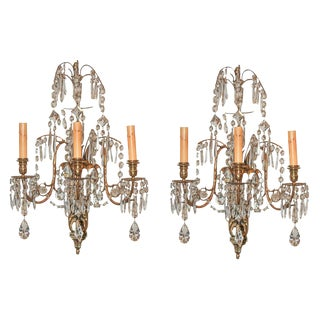 Pair of Continental Crystal Sconces
